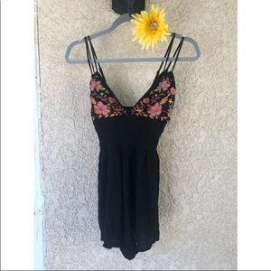 F21 Embroidered Smocked Romper